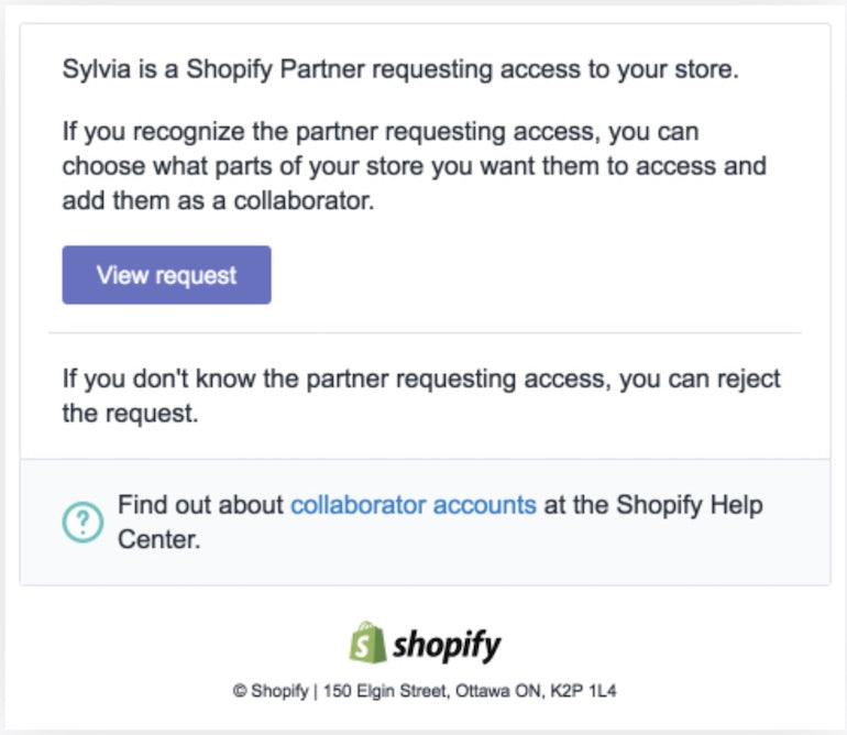 shopify collaborator account: client notification request