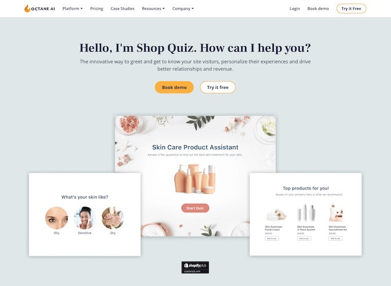 Shopify commerce awards 2020 winners: Screenshot of the Octane AI Shop Quiz landing page that shows text saying: