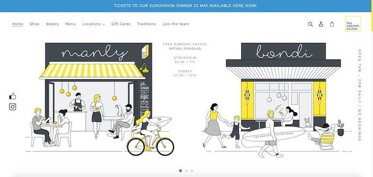 Shopify commerce awards 2020 winners: Screenshot of the animation on the Fika Swedish Kitchen home page, showing illustrations of the brick and mortar storefronts in Manly and Bondi, Australia, with customers enjoying baked goods and coffee, and walking past the shop on the way to the beach.