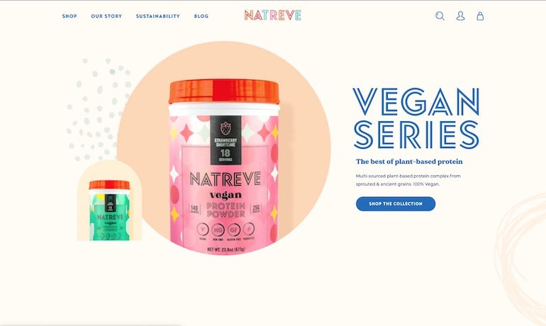Shopify commerce awards 2020 winners: Screenshot of the Natreve website homepage, showing the vegan protein powder product collection, adapted by Shopify Commerce Awards 2020 winners Pattern + Presidio into the Best Mobile Store Experience.