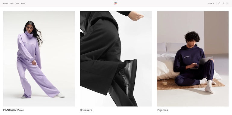 Shopify commerce awards 2020 winners: Screenshot of the Pangaia website homepage, showing product categories sportswear, sneakers, and pyjamas, rebuilt by Shopify Commerce Awards 2020 winners We Make Websites.