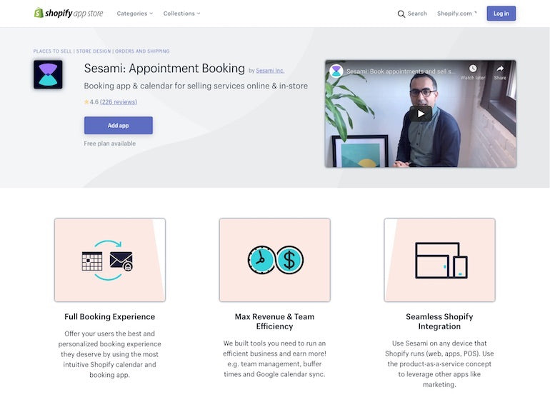 Shopify commerce awards 2020 winners: Screenshot of the Sesami appointment booking landing page on the Shopify App Store.