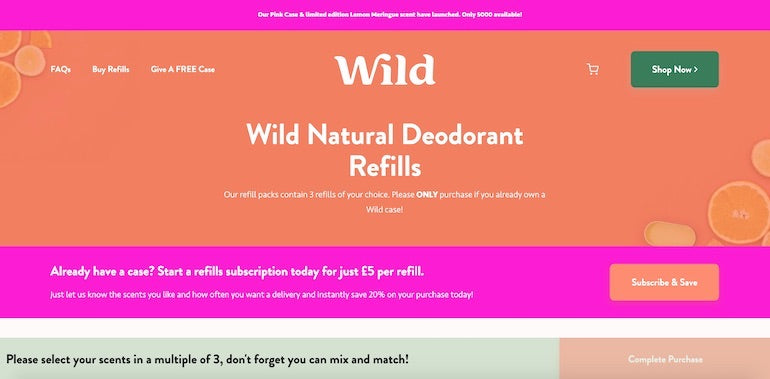Shopify commerce awards 2020 winners: Screenshot of the Wild website homepage, showing bright orange and pink brand colors and a call-to-action button encouraging visitors to subscribe and save.