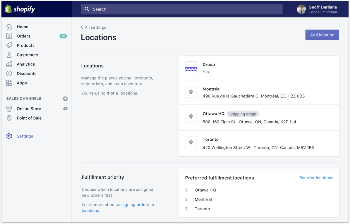 shopify locations developer admin