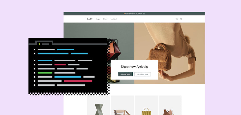 Shopify online store: A visual of Dawn, Shopify's new theme.