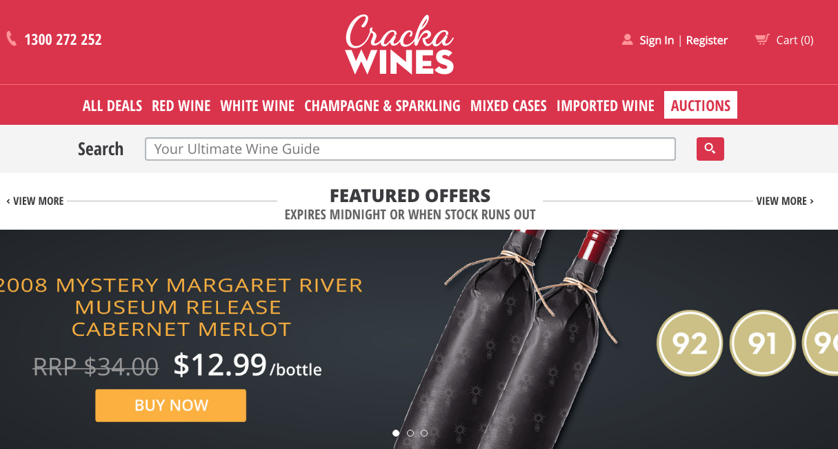 Shopify Plus Partner Createur: Cracka Wines website 2017