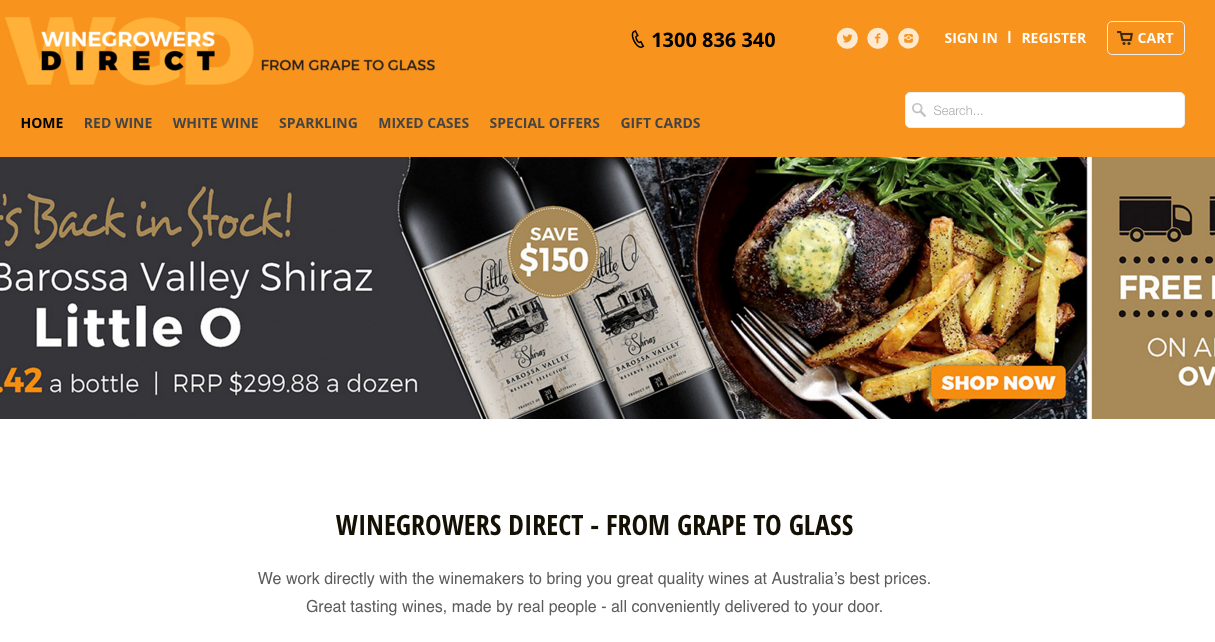 Shopify Plus Partner Createur: Wine Growers Direct