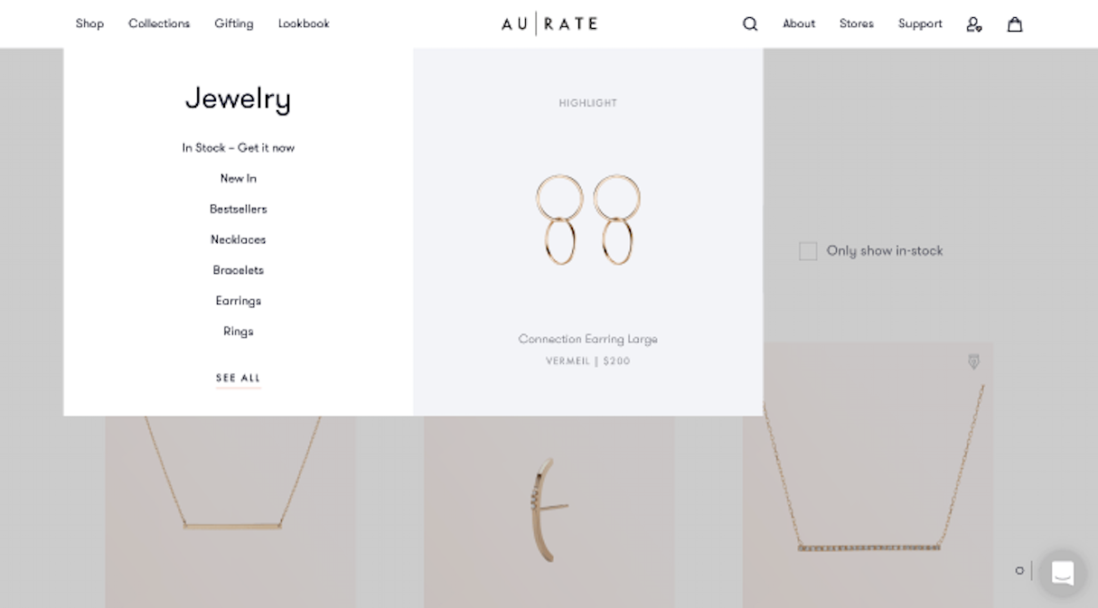 shopify stores: aurate