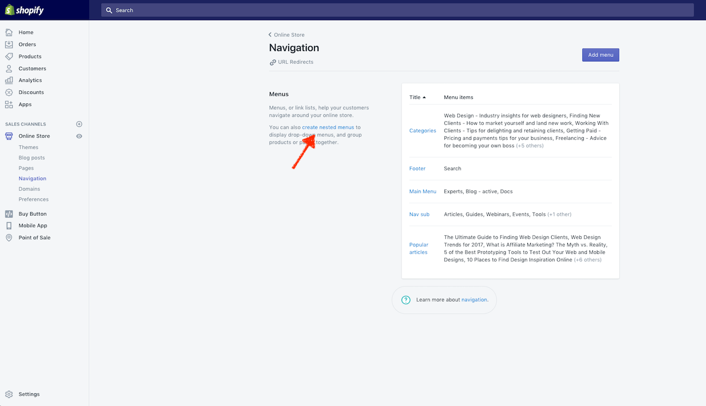 Shopify updates feb 9: nested navigation