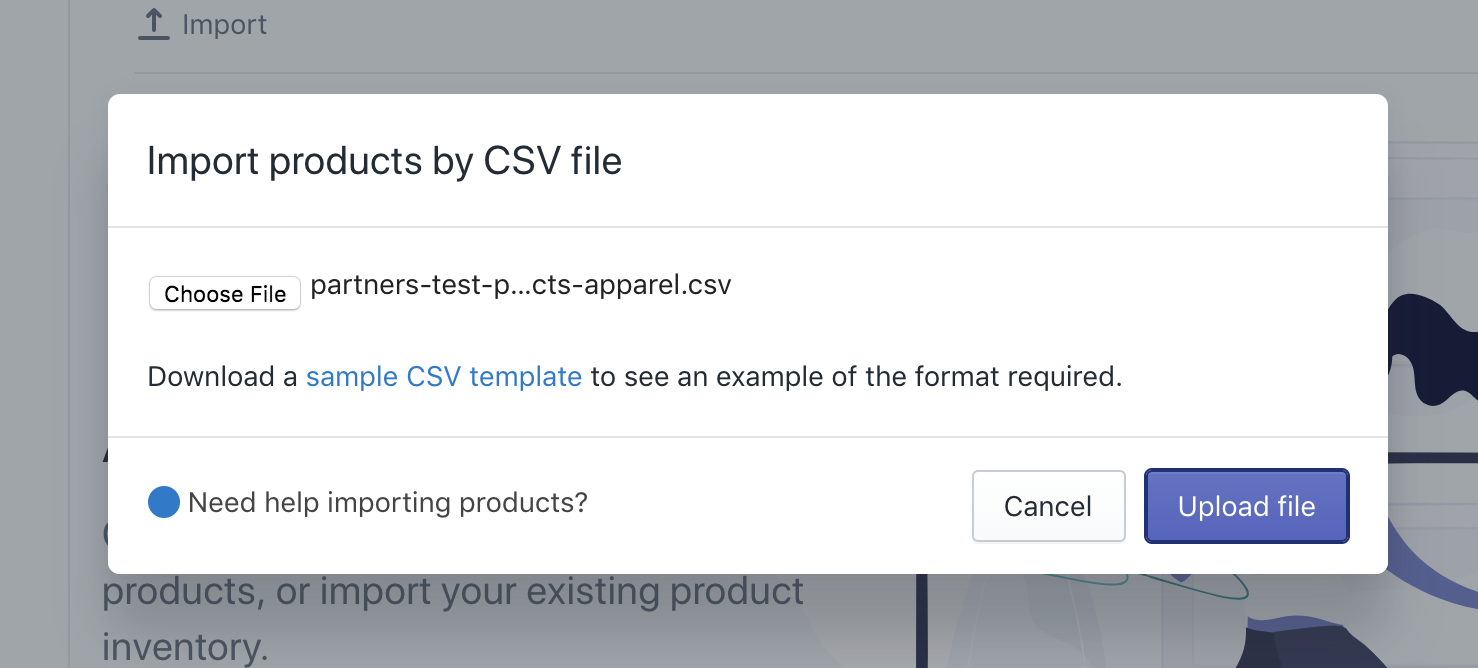 shopify upload product csv - import product modal window