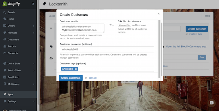 Creating a wholesale customer on Shopify