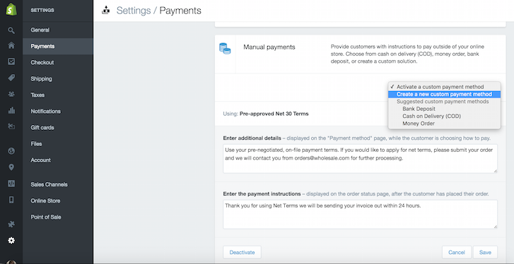 Creating a custom payment method on your Shopify wholesale store