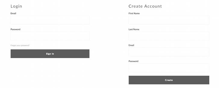 Account login: wholesale shopify store design
