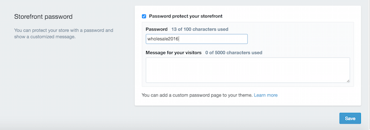 Enabling a storefront password on your wholesale ecommerce store