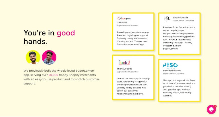 """Social proof: DelightChat displaying four reviews in a grid format against a yellow background beside the heading, """"You're in good hands."""""""