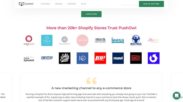 Social Proof: PushOwl displays the logos of key identifiable partners on their website