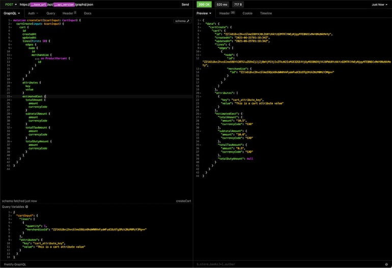 Storefront API learning kit: screenshot from insomnia displaying the request to create the initial cart on the left hand side, and the response on the right hand side.