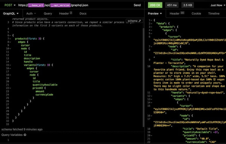 Storefront API learning kit: screenshot of Insomnia displaying the outcome of retrieving 3 products and variables in lines of code. The left hand side is the request, the right hand side the outcome