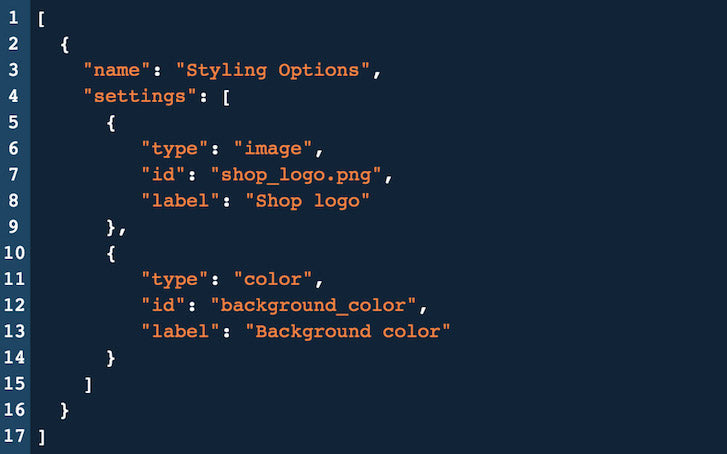 Introduction to Shopify Theme Options: JSON Styling Options