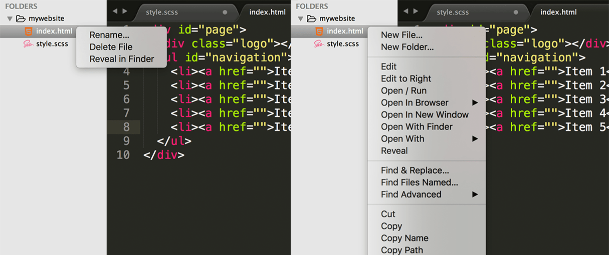 sublime text plugins: sidebarenhancements