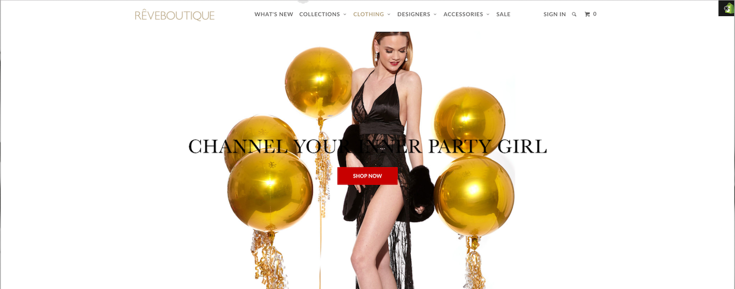 Successful Marketing Campaigns: Reveboutique homepage