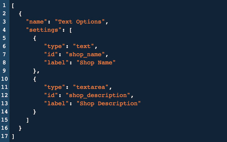 Introduction to Shopify Theme Options: JSON Text Options