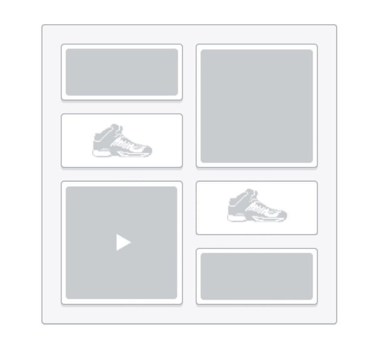Illustration of six example theme blocks, including images of shoes and a video player.