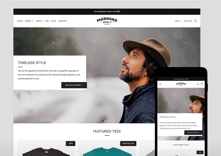 Theme partner business: Safe as Milk's venue theme displayed on both a web browser and a mobile phone. The theme is a clean, modern style with black and white accents and buttons. The main image on the main page depicts a man in a brim hat looking toward the sky backdropped by a wintery scene.