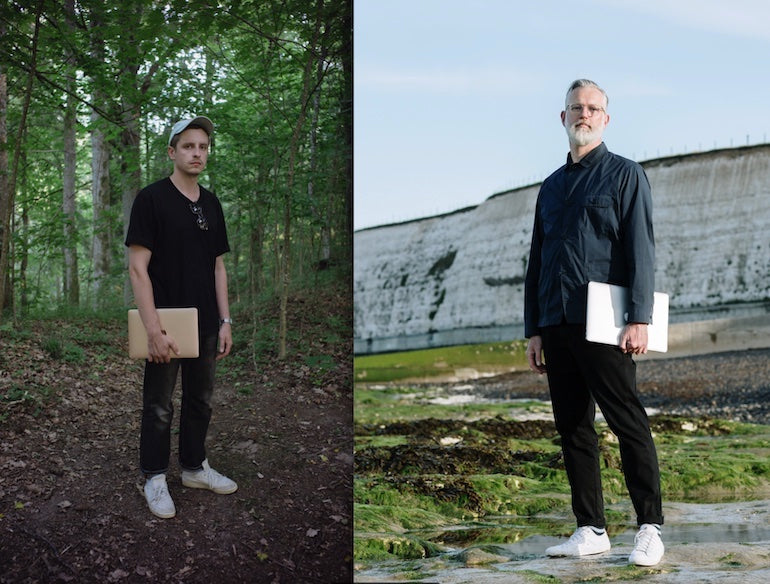 Theme partner business: side-by-side images of co-founders holding macs. Modestas Urbonas is on the left holding a rose gold mac in the forest.  Dean Ricca-Smith is on the right holding a silver mac in front of a reservoir.