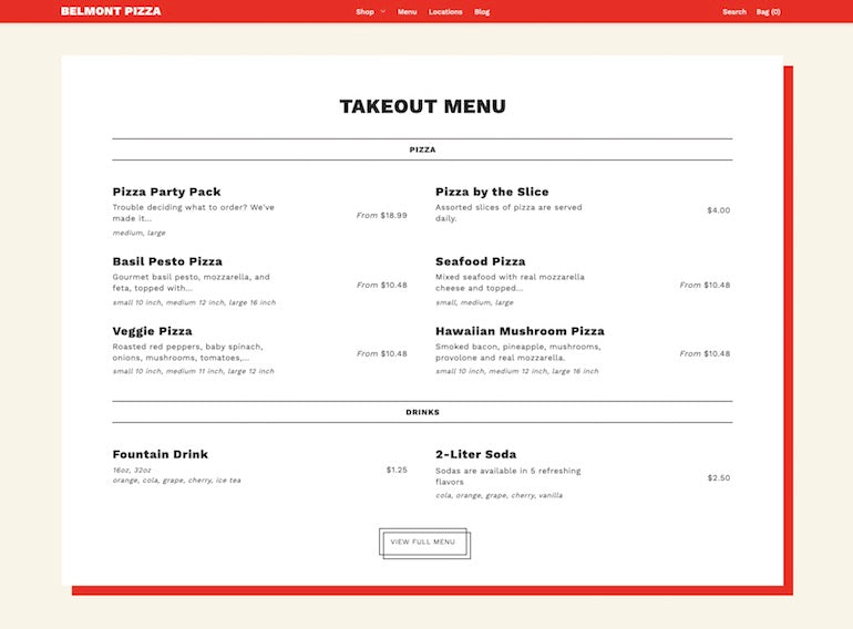 Screenshot of an image taken from the Foodie theme displaying a red bordered cream colored  menu with a selection of pizzas and drinks