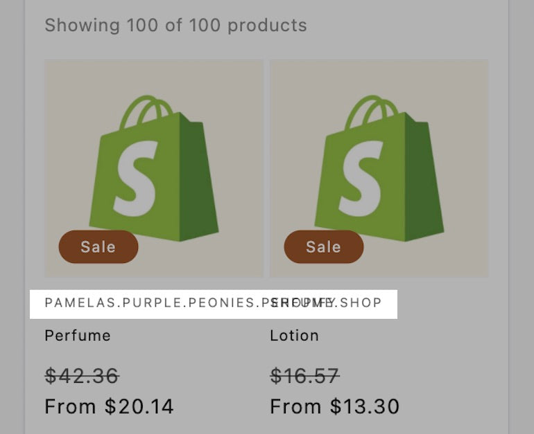 Screenshot of a faded out product page displaying the Shopify logo as the