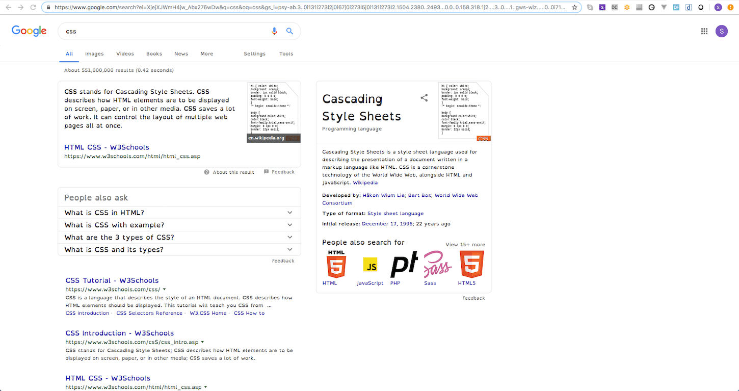 A screenshot of Google with a third-party stylesheet loaded in to aid reading.