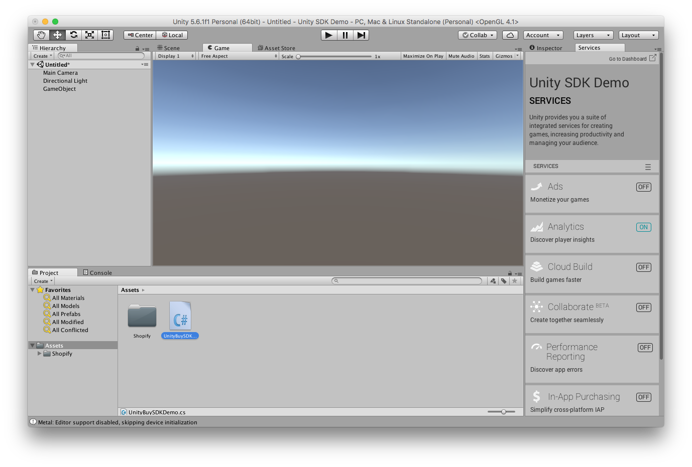 Using Shopify Unity Buy SDK: Unity Buy SDK demo