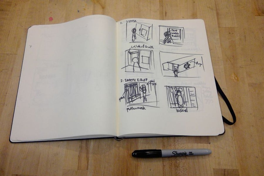 UX storyboarding low fidelity