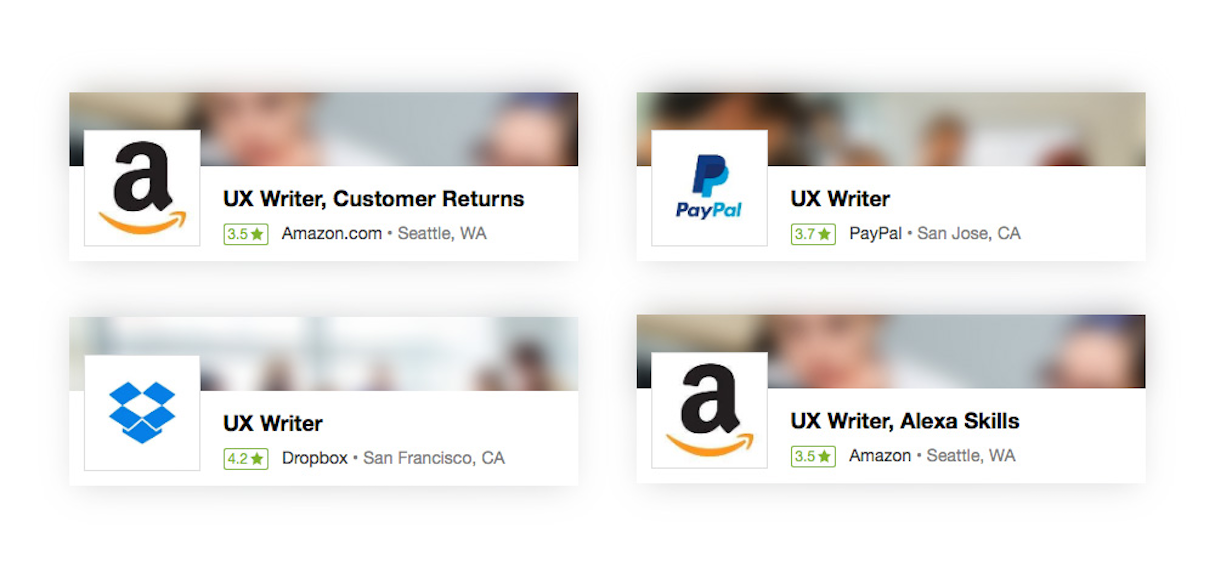UX writer job advert Amazon, Dropbox, and PayPal