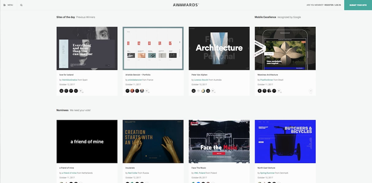 web design and development: awwwards