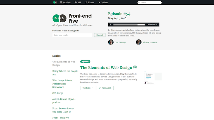 Web Design Podcasts: Front-end Five