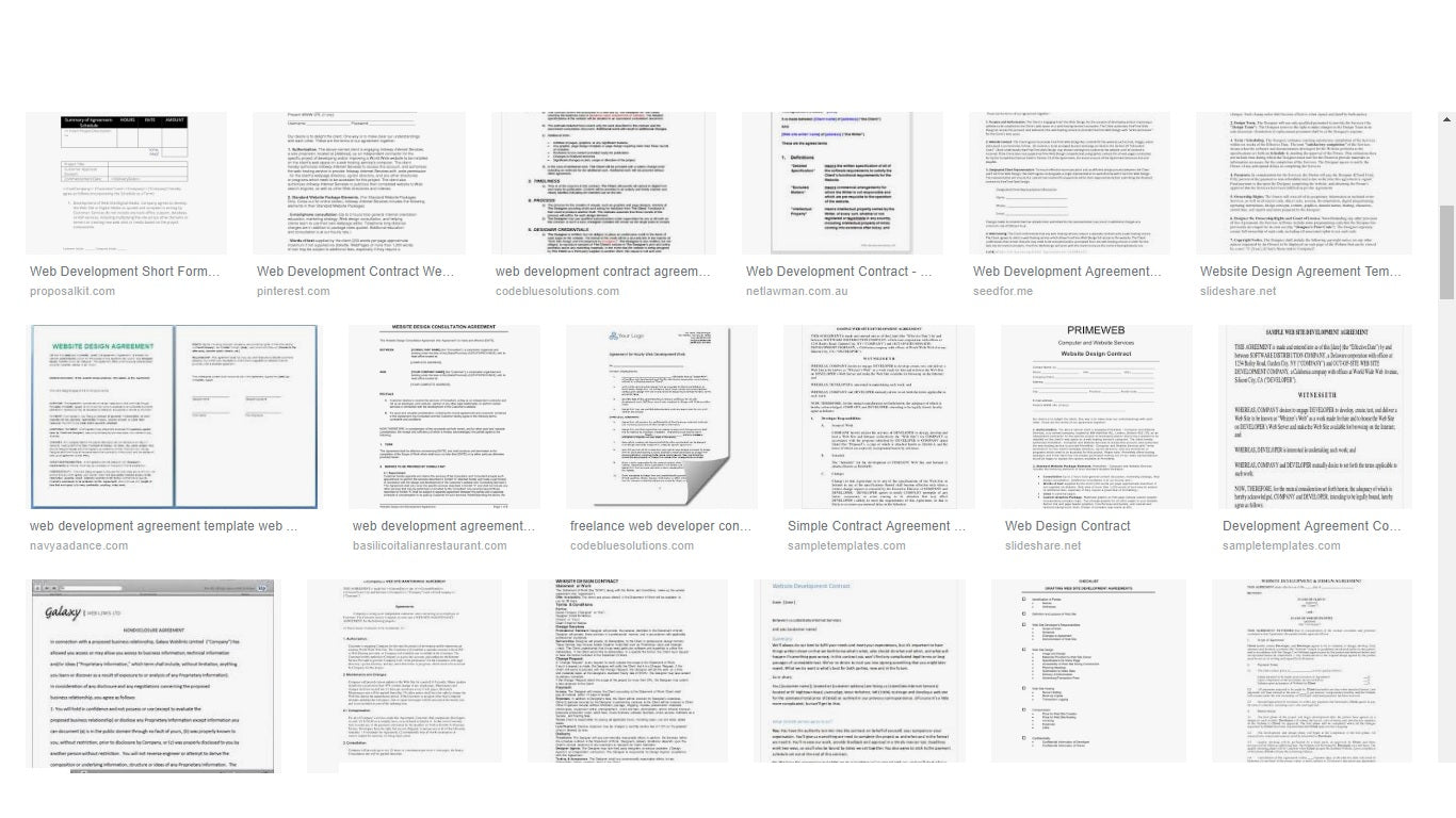 Sample of web development contract templates from Google that won't work for your business