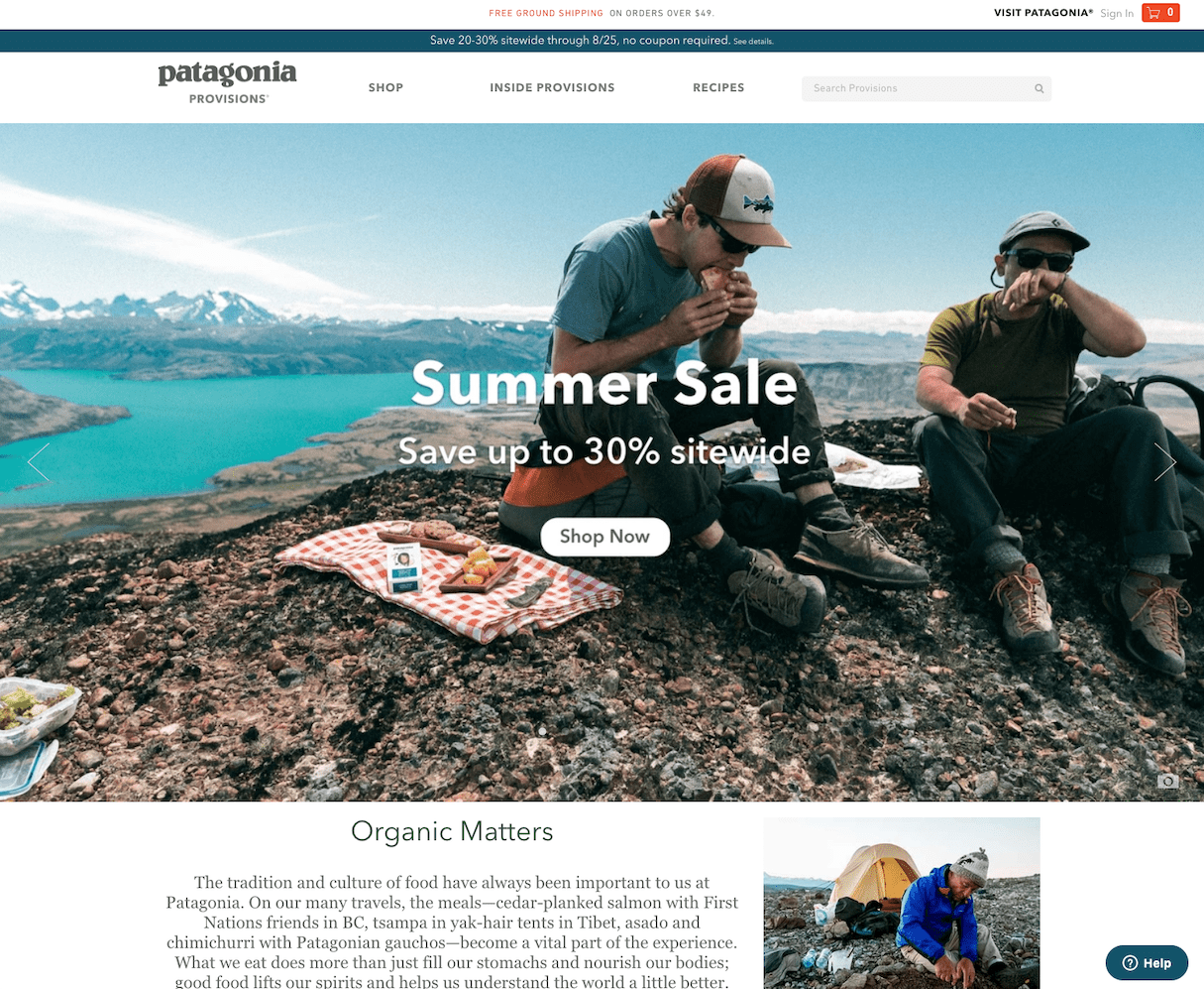 website color schemes: patagonia