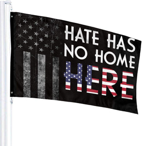 JpnvxiE Hate Has No Home Here Flags 3x5 Fit for Lawn Patio Yard Garden Terrace Balcony Durable Dorm Room Home Outdoor Decor Fade Resistant Banner for Festival Holiday Gala Ceremony