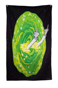 "Calhoun Rick and Morty Indoor Tapestry Wall Banner (30"" by 50"") (Rick Middle Finger)"