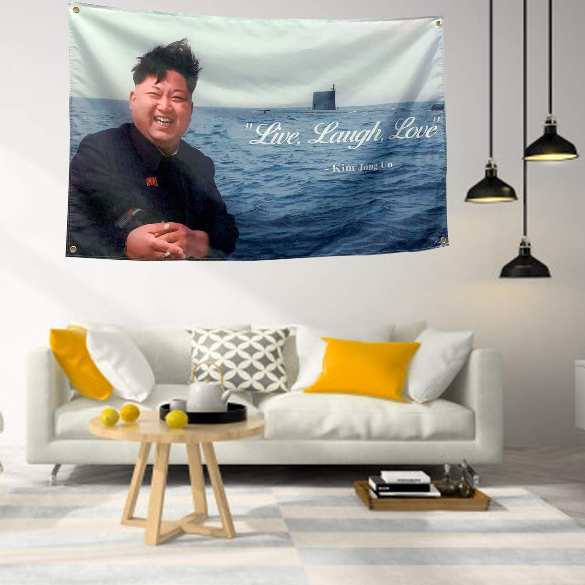 3x5 Ft Live Laugh Love Flag Kim Jong Un Banner Funny Flags for Room College Dorm Decor Indoor Bedroom Sign Heavy Wind with Brass Grommets (3*5 ft) 3*5 ft