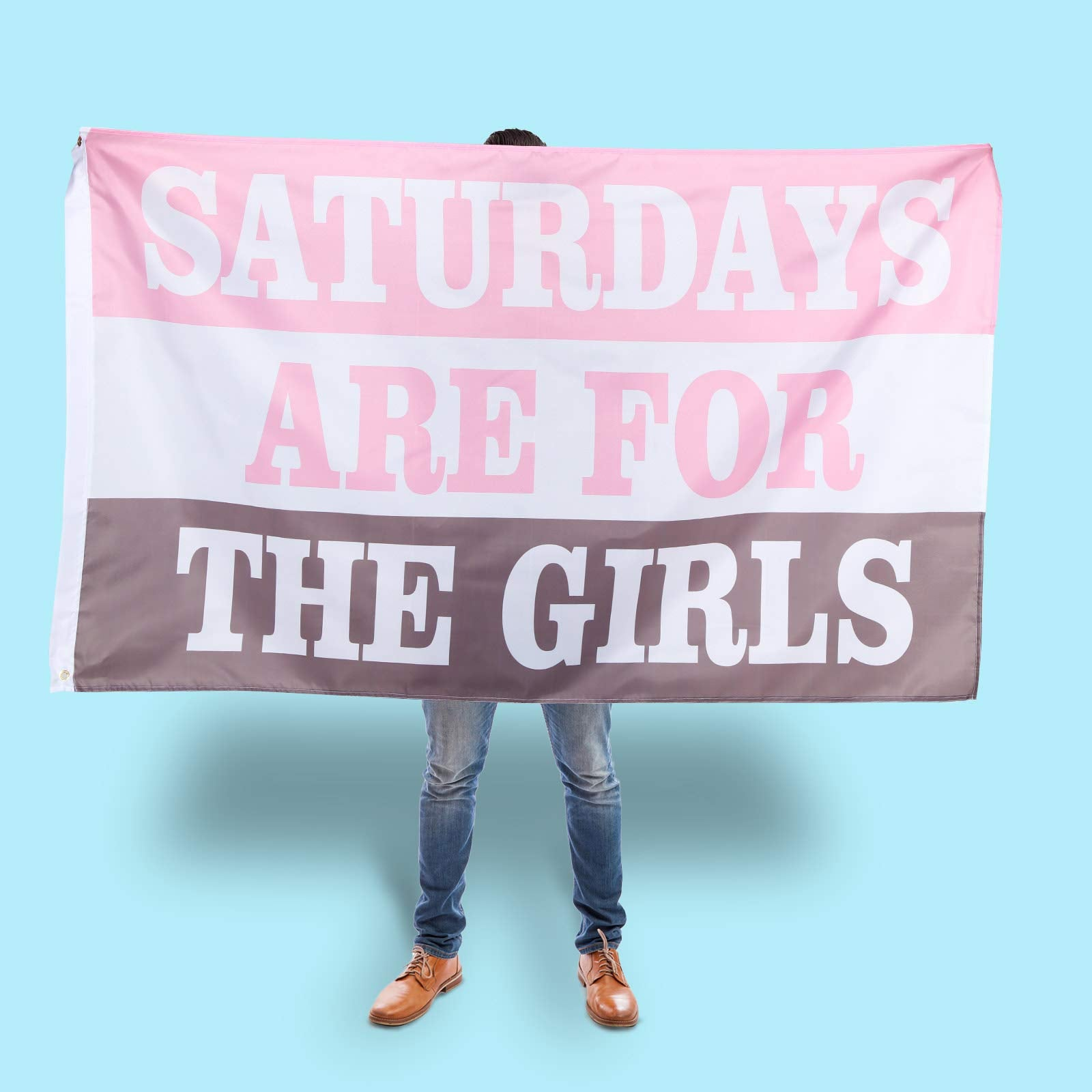 Saturdays are for The Girls Flag 3 x 5 Feet Outdoor Indoor Dorm Room Flag Banner Fraternity Party Dorm College Flag for Garden Balcony Themed Party Decoration (Pink, White, Grey)