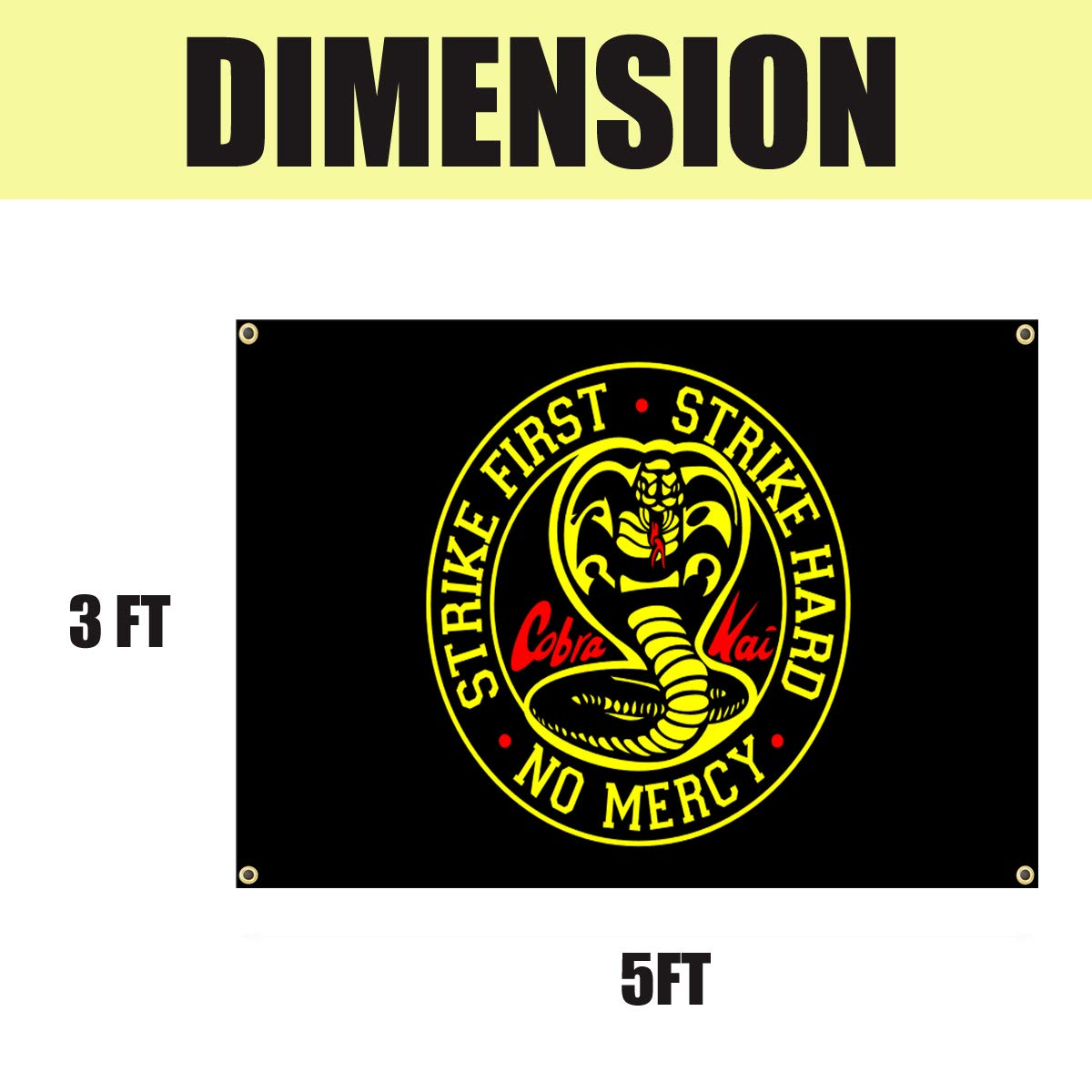 Strike First Strike Hard No Mercy Flag 3x5 Ft Cobra Karate Funny Flags for Room Wall Hanging Large Tapestry College Dorm Decor Banner Indoor Bedroom Sign Heavy Wind with Brass