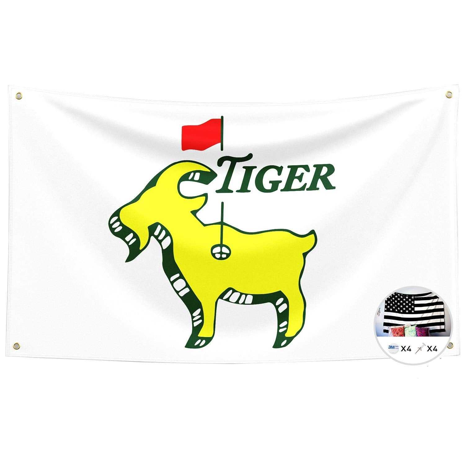 Probsin Tiger Woods Goat Golf Flag,3x5 Feet Banner,Funny Poster UV Resistance Fading & Durable Man Cave Wall Flag with Brass Grommets for College Dorm Room Decor,Outdoor,Parties,Gift,Tailgates
