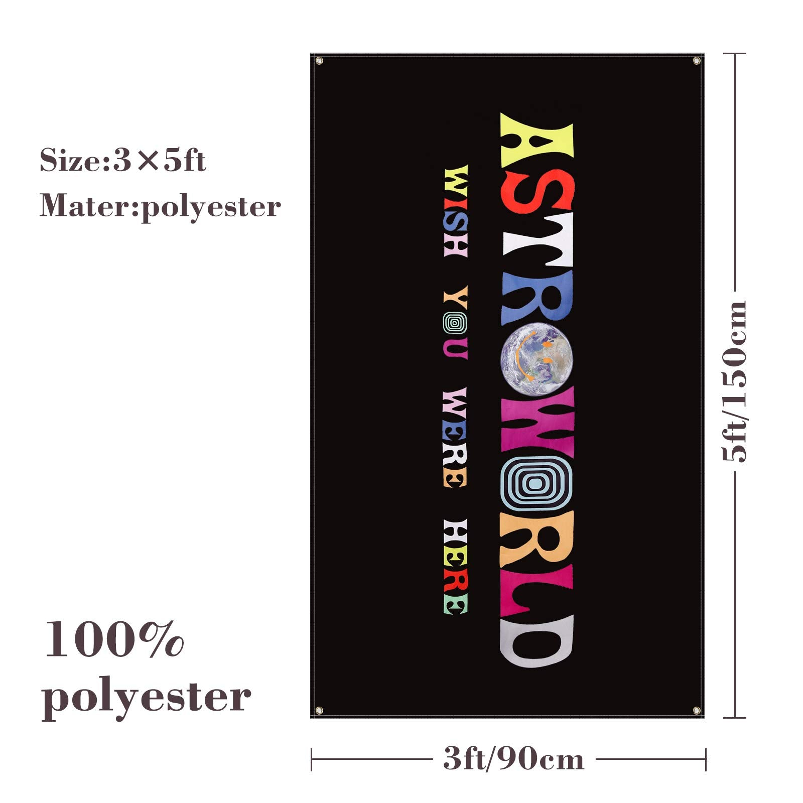 Plttott Astroworld Travis Scott Flag Black, 3x5 Feet Flag Banner, Man Cave Wall Flag with Brass Grommets for College Dorm Room Decor,Tailgates,Parties,Gift