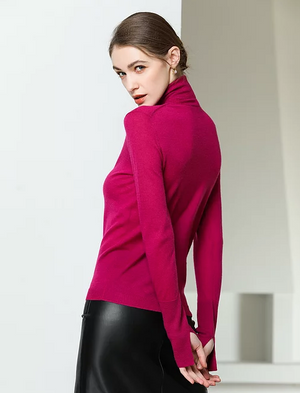 Slit Sleeve Turtleneck Cashmere Sweater