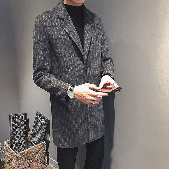 MrGoldenBowl Autumn And Winter Single Breasted Suit Collar Striped Casual Style Men Coat Woolen Mid-Length Korean Style Coat