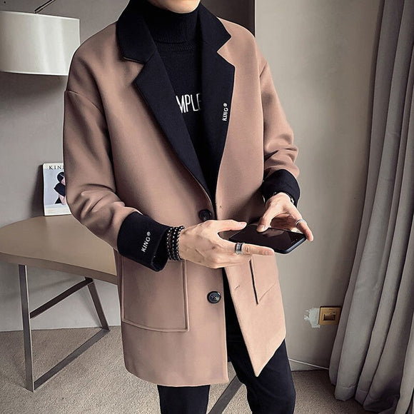 MrGoldenBowl Autumn And Winter Men's Coat Mid-Length Single Breasted Turn-Down Collar Solid Casual Style Men Coat Woolen Coat