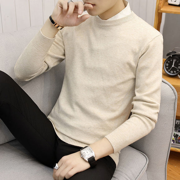 2020 Spring And Autumn New Youth Popular Pure Color Simple Sweater Fashion Casual Round Neck Pullover Bottoming Shirt M-3XL